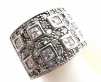 Chunky Sterling Silver And Rhinestone Set Dress Ring.